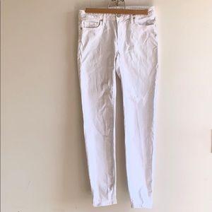 Joie Jeans White Denim Mid-Rise Skinny Jeans
